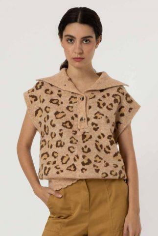 camelkleurige spencer met grote kraag en luipaardprint felicia