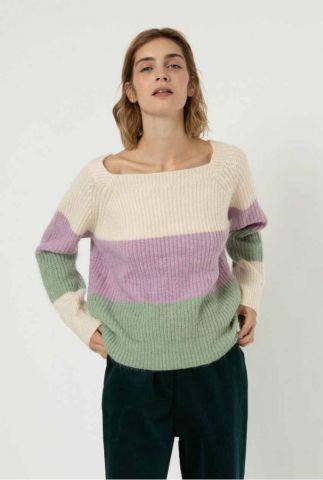 gebreide colour-block trui met vierkante hals melanie