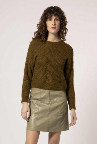 khaki trui van wolmix met ingebreid patroon nathalia