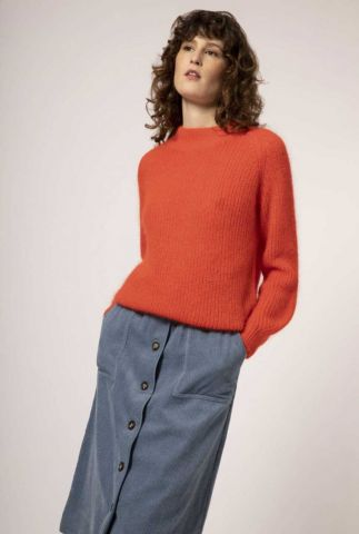 grof gebreide rood/oranje trui van mohair wolmix neuville