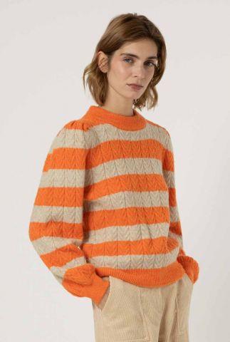 trui met oranje en beige streep dessin neve