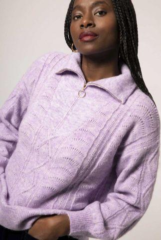 lila trui met ingebreid patroon en rits sluiting niagara