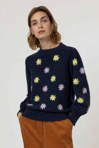 donkerblauwe trui met ronde hals en geborduurde bloemen noisette