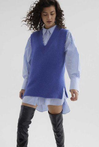 blauwe spencer van super kid mohair met v-halslijn kn noelle