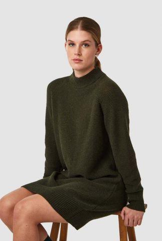 donker groene rib gebreide jurk lorraine k200706010