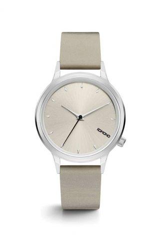 zilvere horloge met ronde kast en lichte kast kom-w2761