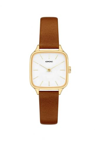 gouden horloge met cognac leren band kate kom-w4253