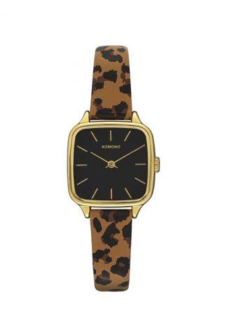 gouden horloge met luipaard band kate animal tan kom-w4265