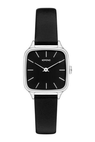 vierkant zilveren horloge met zwarte band kate kom-w4252