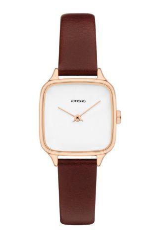 rosé gouden horloge met bordeaux leren band kate kom-w4255