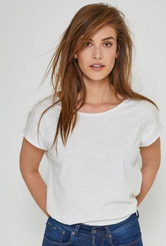 wit basis t-shirt van biologisch katoen violet basic boxy tee 90301502