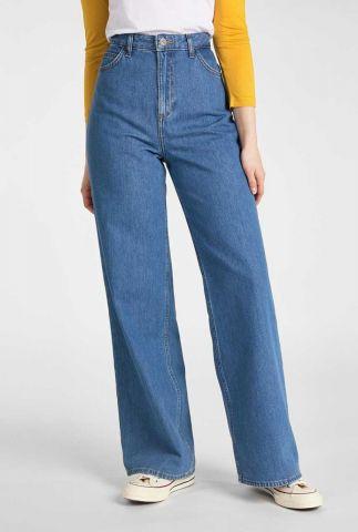 blauwe high waist jeansmet wijde pijpen a-line flare l31sljmv