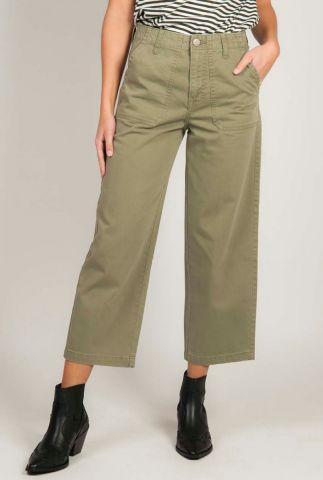 legergroene high waist broek met flared pijpen l31uld82