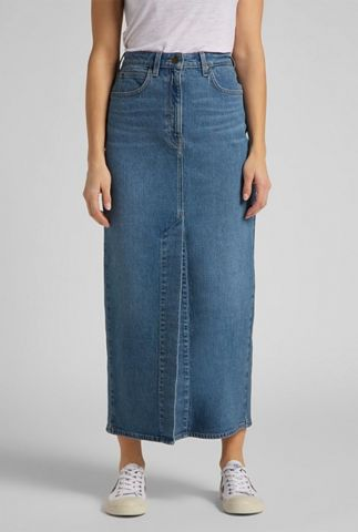 maxi denim rok met split ultra long split skirt l38lmwmq