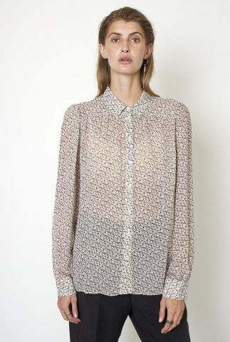 semi transparante blouse met grafische print lacing shirt
