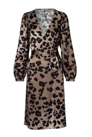 bruine overslag jurk met luipaard dessin laguna wrap dress