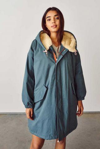 petrol kleurige parka jas met capuchon laos f12 p1133