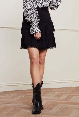 zwarte mini rok met elastische band en kanten details lara skirt