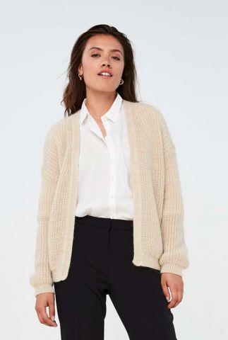ecru kleurig grof gebreid vest lara solid cardigan