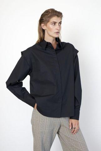 zwarte blouse met schouder details larkin wide shoulder shirt