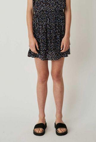 zwarte viscose mini rok met bloemen print lassy skirt