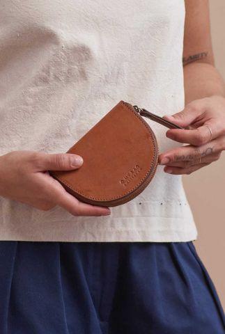 cognac kleurige coin portemonnee laura omb-e147bv