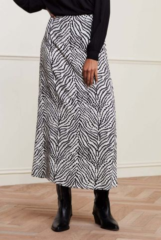 witte midi rok met grafische hartjes print en split detail laurie skirt