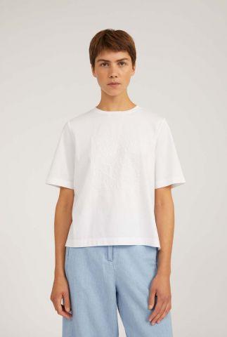 wit t-shirt met ingeweven dessin layaa anglais 30002839