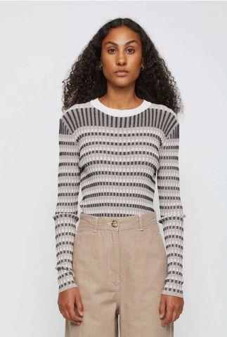 grijze linnenmix trui met ingebreid streep dessin lazio knit