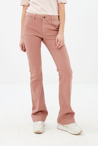 licht gekleurde flared broek van katoenmix leila pant twill