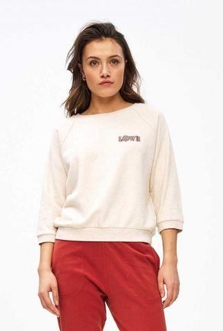 ecru kleurige sweater met geborduurde tekst lena top