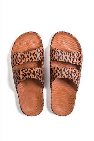 bruine slippers met luipaard print en dubbele band fancy leo-toffee