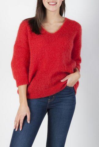 fijn gebreide trui van mohair wol mix met v-hals lerecif