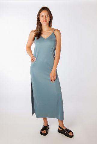 blauwe maxi jurk met zijsplit leslee