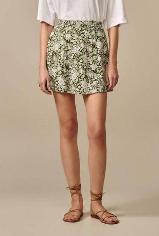 groene mini rok met wit bloemen dessin lexie f1877