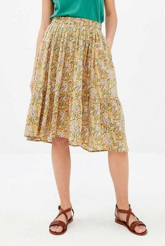 gele midi rok van katoen met paisley print lien paisley skirt