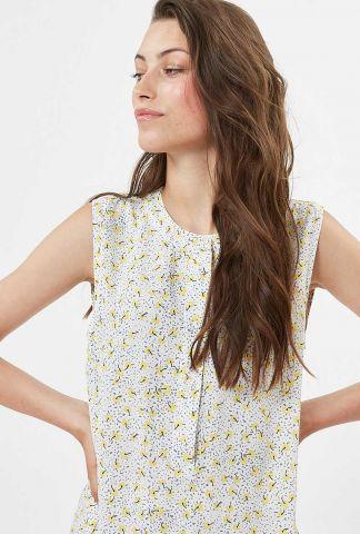 lange mouwloze blouse met gele bloemen print liljane 7458