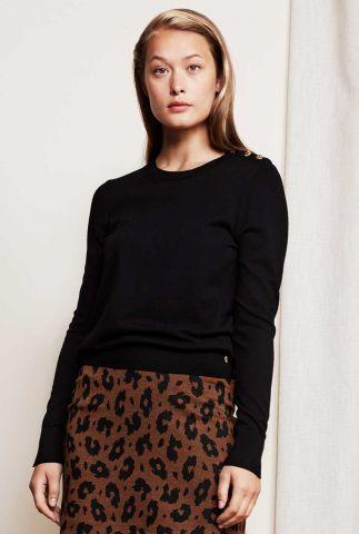 fijn gebreide trui met pofmouwen en knoop details lillian pullover