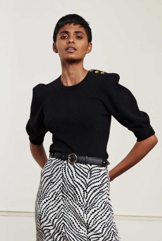 zwarte rib top met 3/4 pofmouwen lillian short sleeve pullover