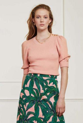 ribgebreide trui met 3/4 mouwen lillian short sleeve pullover