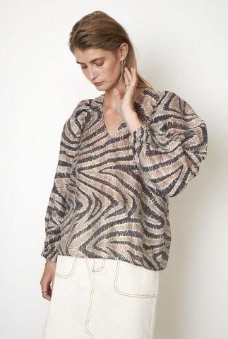beige blouse met grafische lijnen print  lilly blouse