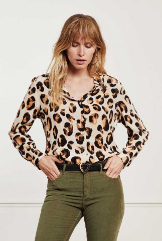 viscose blouse met panter print lily cato blouse