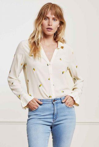 lichte blouse met geborduurd citroen dessin lily frill embro blouse
