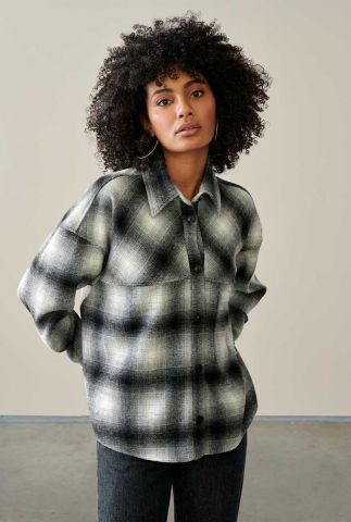 zwarte blouse met all-over ruit dessin link c1054