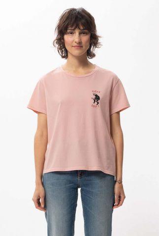 licht roze cropped t-shirt van katoen lisa night shift 131745