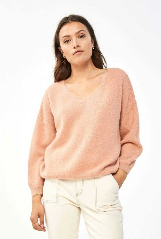 roze zachte trui van alpaca wol mix met v-hals liv pullover