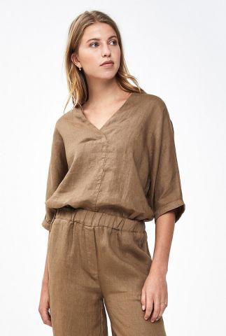 bruine linnen top met v-hals liva linen blouse