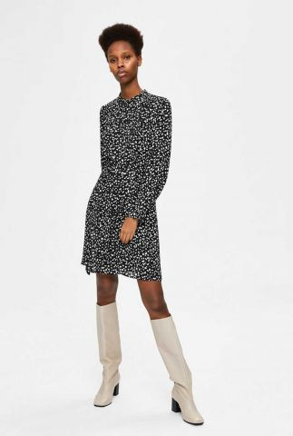 zwarte jurk met all-over dessin en ceintuur livia short dress 16077194
