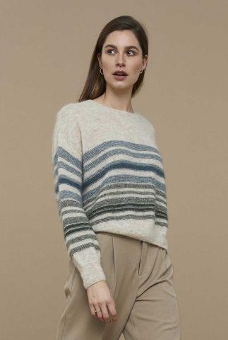 fijn gebreide trui van alpaca wolmix met strepen dessin liz stripe pullover