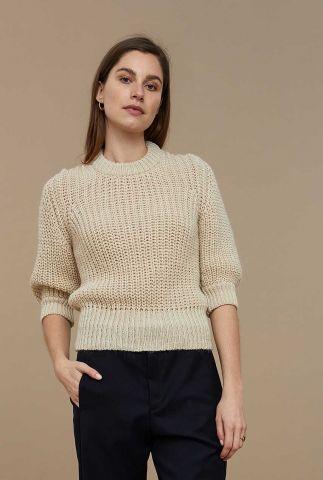 grof gebreide trui met halflange pofmouwen loes pullover